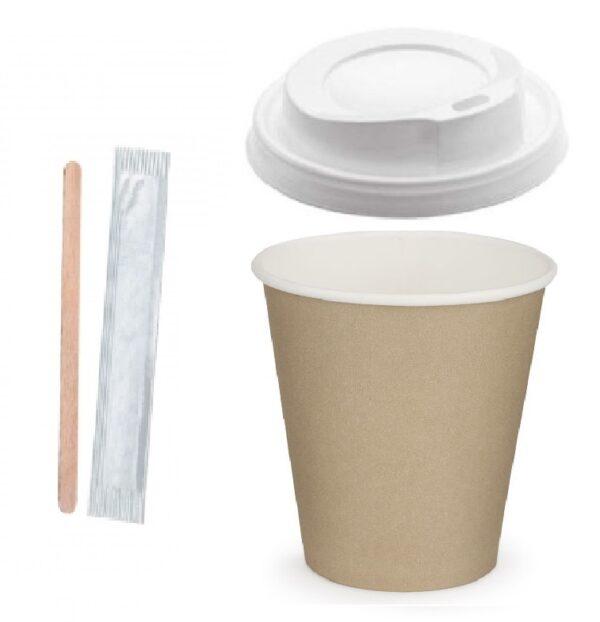 bicchiere caffe 1 600x622 - KIT CAPPUCCINO cc. 250 ASPORTO: PALETTINE IN LEGNO, BICCHIERI, COPERCHI <br> <br>N° 1000 PZ.