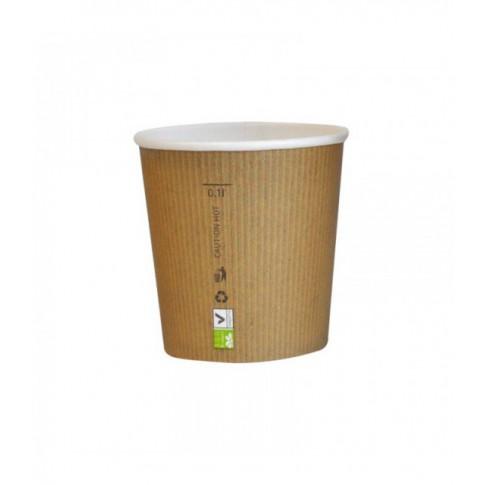 bicchiere in cartone pla nature cup 120ml o62mm h57mm - CARTONCINO + PLA - BIO - TAZZINA CAFFE' 120 ML.<br> <br>N° 500 PZ.