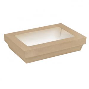 scatola kray rettangolare in cartone kraft con coperchio a finestra in pla 1500ml 225x155mm h50mm 300x300 - CARTONCINO COMPOSTABILE + PLA - uso freddo - BIO - INSALATIERA 1500 CC. <br> <br>N° 50 PZ.